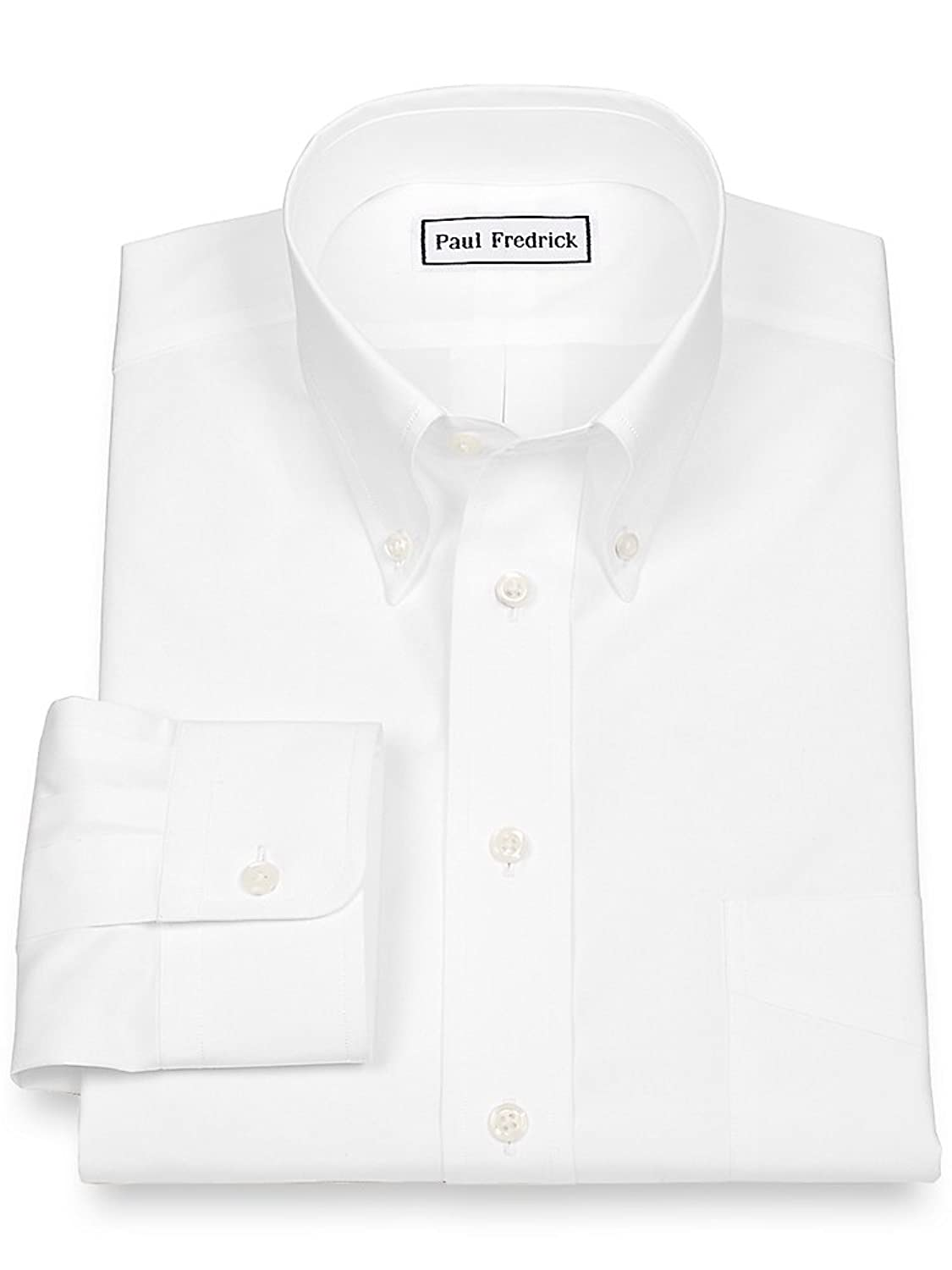 Paul Fredrick Men's 2-Ply Cotton Button Down Collar Button Cuff Dress Shirt