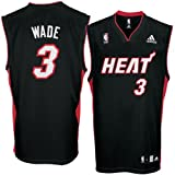 adidas Miami Heat #3 Dwyane Wade Black Replica Basketball Jersey (X-Large)