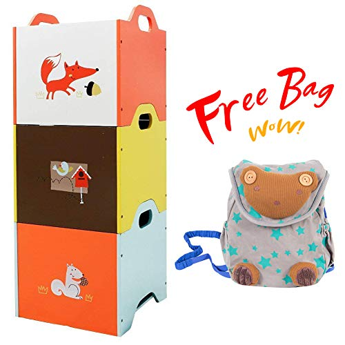 labebe【Free Bag Baby Toy Chest, 3-Color Kid Chest for 1-3 Year, Wooden Toy Storage Bin with 3-Layer for Baby, Kid Storage Shelf/Baby Toy Storage Organizer/Storage Container Toy/Kid Storage Cabinet
