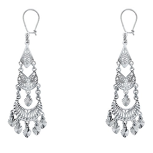 14k White Gold Fancy Chandelier Dangle Earrings (16 X 53mm) ()