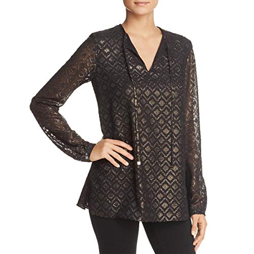 Lafayette 148 New York Womens Long Sleeve Metallic Blouse Black L from Lafayette 148