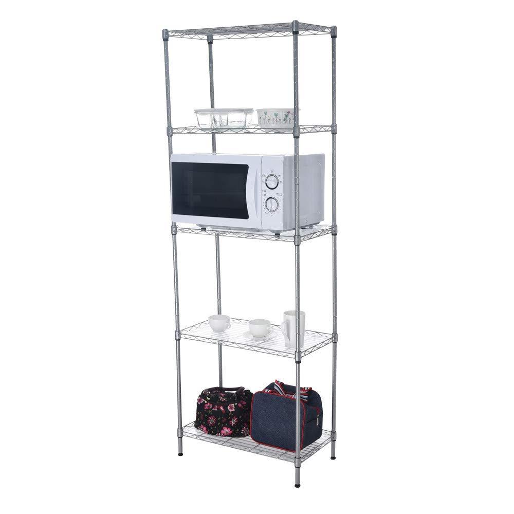 Jieson Multi-Function Shelf Display 5 Storey Shelf to Send 5 Shooks, Kitchen Shelf Homeware Storage Organizer Storage Rack Shelf Unit 55x30x158cm by Jieson