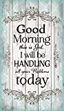 Good Morning this is God…Green Floral Design 24 x 14 Wood Pallet Wall Art Sign Plaque