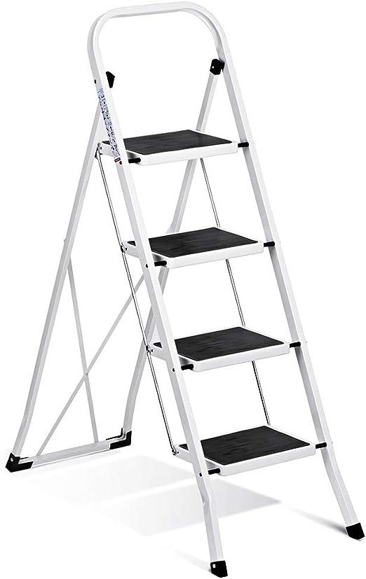 Delxo escalera plegable de 4 peldaños con pasamanos antideslizantes y pedal ancho. Soporta hasta 330 libras. Color blanco y negro.: Amazon.es: Bricolaje y herramientas