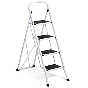 ACKO 4 Step Ladder Steel Folding 4 Foot Ladder with Convenient Handgrip Anti-Slip Sturdy and Wide Pedal 330lbs Portable 4 Ladder White and Black 4-Feet Ladder 4 Step Stool
