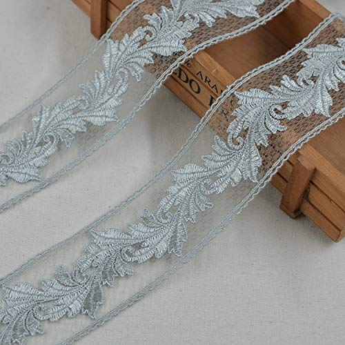 5M/Lot 4.5cm Wide Silver Gray Mesh Water Soluble Embroidered Embroidery Needlework Sewing Flower Texture Lace Ladies Clothing Dress Garment Trimming Accessories Sc796 (Nouveau Silver Letters)