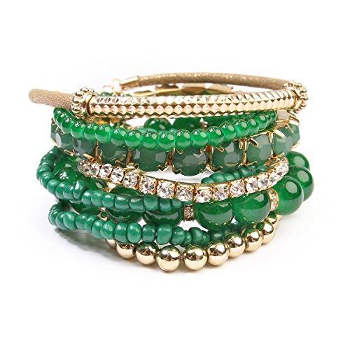 3 Stone Green Bracelet (Riah Fashion Women's Multicolor Beaded Stretch Bracelet (Dark Green))