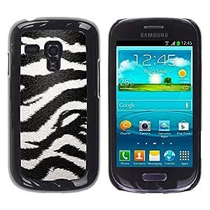 FECELL CITY // Duro Aluminio Pegatina PC Caso decorativo Funda Carcasa de Protección para Samsung Galaxy S3 MINI NOT REGULAR! I8190 I8190N // Zebra Pattern Art Black White Stripes