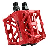 "Aluminium Alloy CNC Ball Bearing Bike Pedals Road Bicycles Fixed Gear MTB Cycling Flat Pedal 9/16"" (Red)"