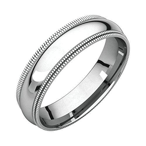 Bonyak Jewelry Palladium 5 mm Double Milgrain Comfort-Fit Band in Palladium - Size 11