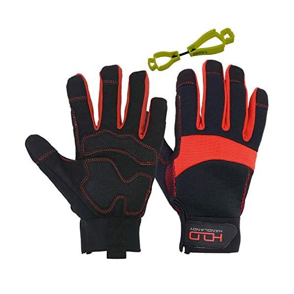 HANDLANDY Hi-vis Reflective Work Gloves, Anti Vibration Safety Gloves, Touch Screen, Orange Flexible Spandex Back (Small… 1