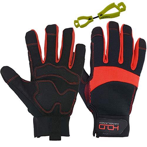 HANDLANDY Hi-vis Reflective Work Gloves, Anti Vibration Safety Gloves, Touch Screen, Orange Flexible Spandex Back (Small…