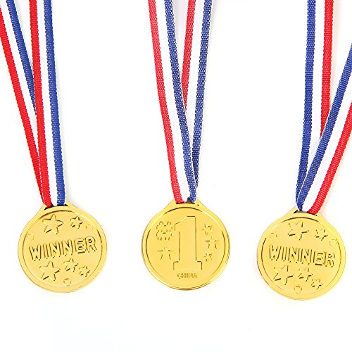 Fun Central 72 Pieces - Gold Plastic Winner Award Medals in Bulk for Kids