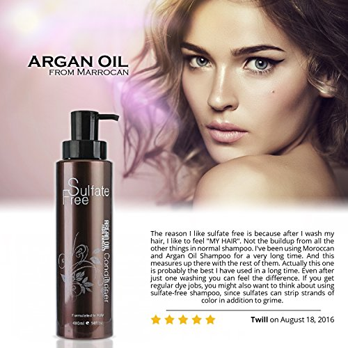 Natural Organic Moroccan Argan Oil Shampoo And Conditioner Set Sulfate Free Best For Damaged Dry Curly Or Frizzy Hair Thickening For FineThin Hair Safe For Color Treated Keratin Treated Hair