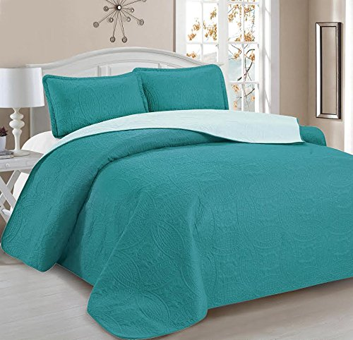 Home Sweet Home Victoria Design Reversible 3 PC Quilt Bedspread Sets (Full/Queen, Teal/Aqua)