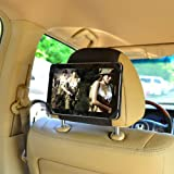 TFY 7-Inch Tablet PC Car Headrest Mount, Fast-Attach Fast-Release Edition, Kids Security Hands-Free Headrest Travel Bracket Stand for Road Trip - Provide Entertainment for Kids and Back Seat Passengers - Black
