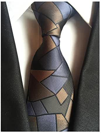 MENDENG Elegant Triangle Geometry Pattern Woven Men's Tie Wedding Party Necktie