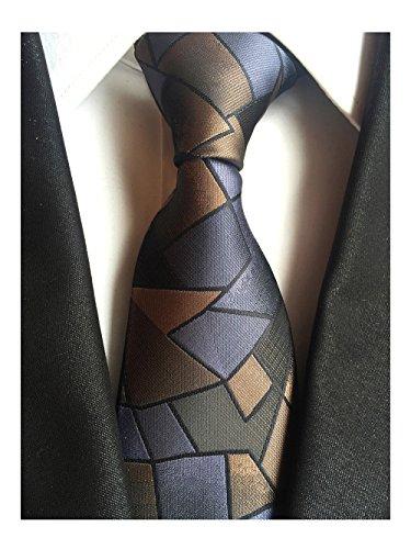 MENDENG Elegant Triangle Geometry Pattern Woven Men's Tie Wedding Party Necktie