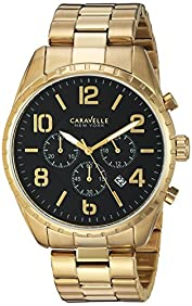 Bulova Men's Quartz Stainless Steel Casual Watch, Color:Gold-Toned (Model: 44B114)
