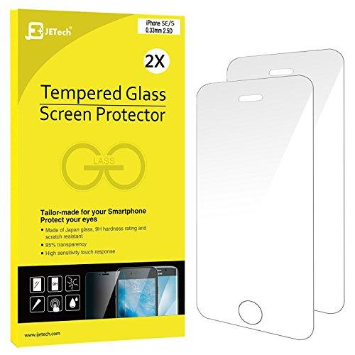 JETech 2-Pack iPhone SE 5S 5C 5 Schutzfolie Panzerglasfolie Gehärtetes Glas 9H Displayschutzfolie