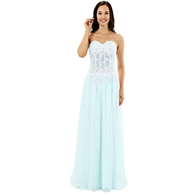 Lemai Sheer White Lace Beaded Boned Long A Line Prom Evening Dresses Aqua US 2
