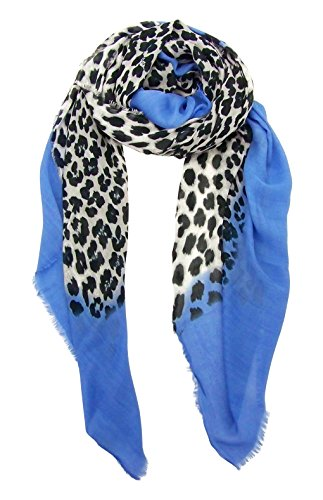 Blue Pacific Animal Print Cashmere and Silk Scarf in Denim Blue and Snow ()