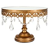 Anastasia Collection Antique Gold 10 Inch Mirror Cake Stand with Glass Crystals, Round Metal Wedding Party Dessert Cupcake Pedestal Display