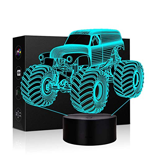 VYI.ME Tractor Truck 3D Illusion Led Lamp 7 Colors Table Desk Lamp for Home Office Room Theme Decoration and Kids Children Family, Monster Truck