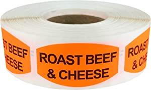 Roast Beef and Cheese Grocery Store Food Labels .75 x 1.375 Inch Oval Shape 500 Total Adhesive Stickers