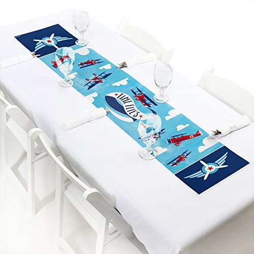 Big Dot of Happiness Taking Flight - Airplane - Petite Vintage Plane Baby Shower or Birthday Party Paper Table Runner - 12 x 60