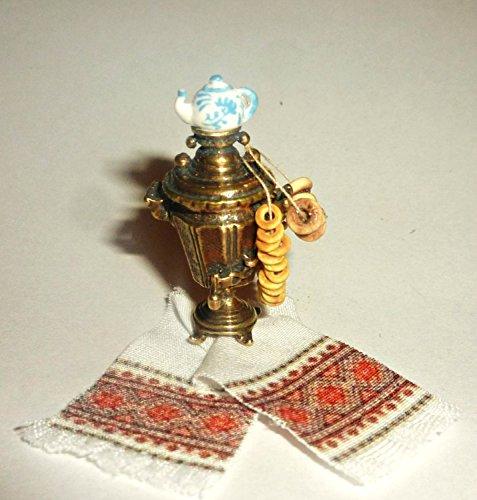 Russian Lacquer Miniatures (Russian samovar + towel + bagels Russian (Bublik). Dollhouse miniature 1:12)