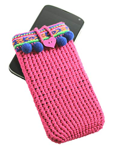 Pink mobile phone case boho style for woman
