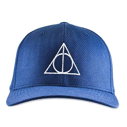 (HP Deathly Wand Stone Cloak Symbol Flexfit Adult Cool & Dry Piqué Mesh Cap Hat - [Navy])