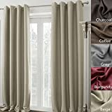 COFTY Madison Solid Insulated Thermal Blackout Polyester Nickel Grommet Top Curtain Drapery - Beige 100W X 72L Inch(1 Panel)