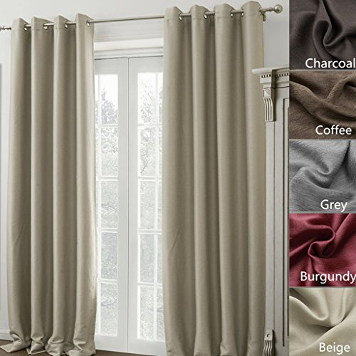 COFTY Madison Solid Insulated Thermal Blackout Polyester Beige 100W X 102L  Inch (1 Panel)   Nickel Grommet Top Curtain Drapery