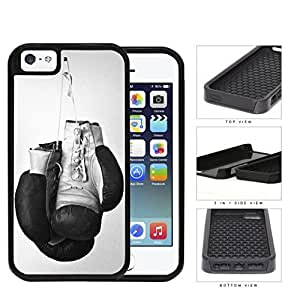 Black and White Boxing Gloves Sports 2-Piece High Impact Dual Layer Black Silicone Cell Phone Case iPhone i5 5s