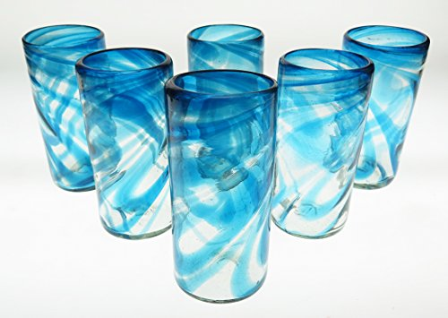 Mexican Glasses Turquoise/Aqua Marine Swirl Tumblers 20 Oz Set of 6