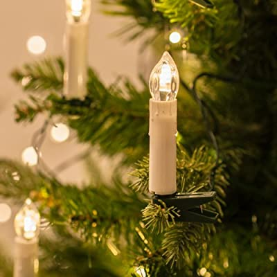 50 Warm White LED Flameless Christmas Candle Indoor String Lights with Tree Clips