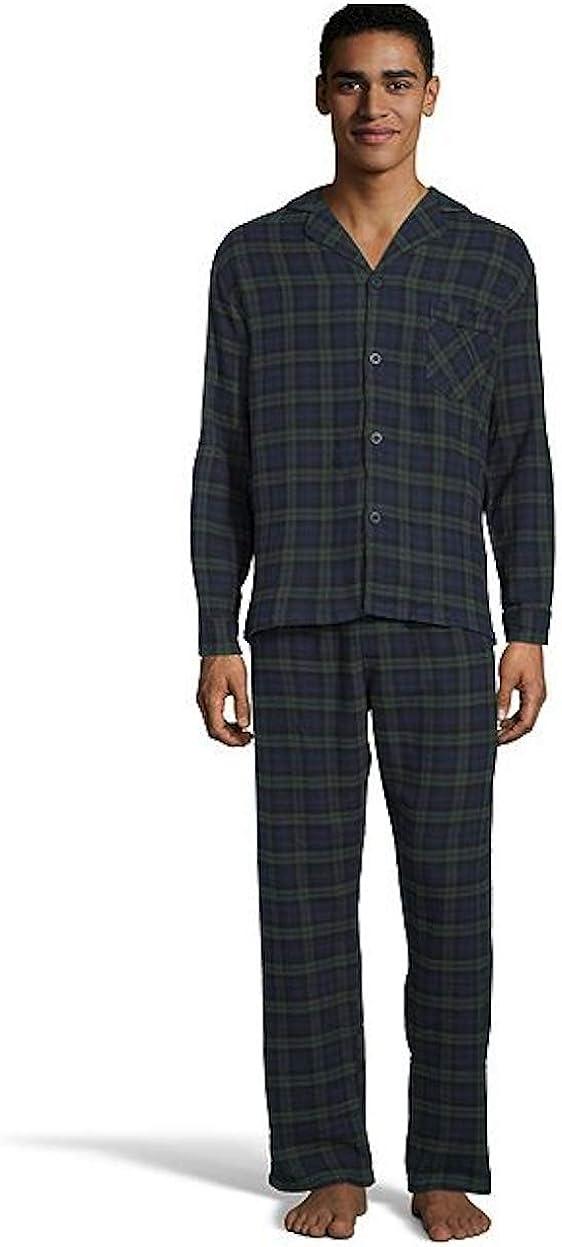Hanes Men's Long Sleeve Flannel Pajama Sleep Top & Pant Set