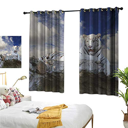 Price comparison product image Tiger Drapes for Living Room Bengal Hunter Surveying What is Beneath It from Top White Large Feline W55 x L39, Suitable for Bedroom Living Room Study,  etc.