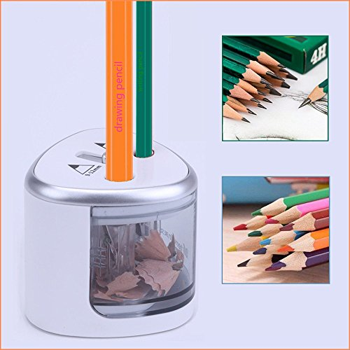Battery Operated Pencil Sharpener and double hole Silver Pencil Sharpener School Classroom,Home,office,Portable Architect Electric Pencil Sharpener by Tihoo