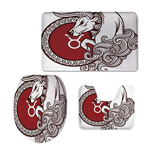 iPrint Bath Rug Set,Taurus,Astrology Calendar Bull Classic Animal Figure Person Symbolic Design Decorative,Ruby Chestnut Brown White,Non-Slip Soft Absorbent Bath Rug