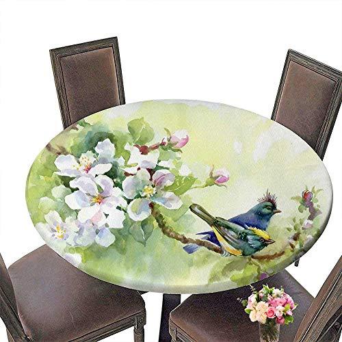 PINAFORE Round Fitted Tablecloth Peinture Oiseaux de collecte de emps for All Occasions 35.5