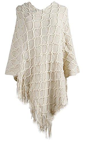 (QZUnique Women's Sweater Cape Pullover Shawl Ruffle Trim Knit Poncho-Like Wrap)