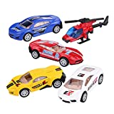 Toy Cars and Helicopter, Mini 1/55 Die-Cast Alloy Toy Cars Set Pull Back Car Helicopter Plane Vehicle Lot for Toddler Kids