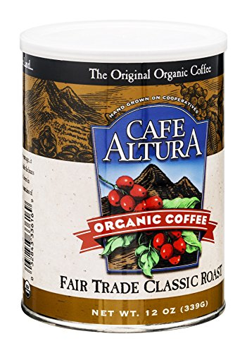 Cafe Altura Organic Coffee, Fair Trade Classic Roast, Ground Coffee, 12 Ounce Can (Pack Of 2) (Trade Classic Fair Roast)