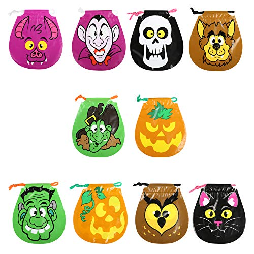 GWHOLE Drawstring Halloween Goody Bags 10 Style, Pack of 50 -