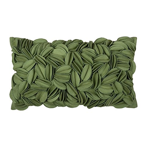 KingRose Decorative Handmade 3D Floral Decorative Throw Pillow Case Wool Cushion Covers for Sofa Couch Chair 12 x 20 Inches Green