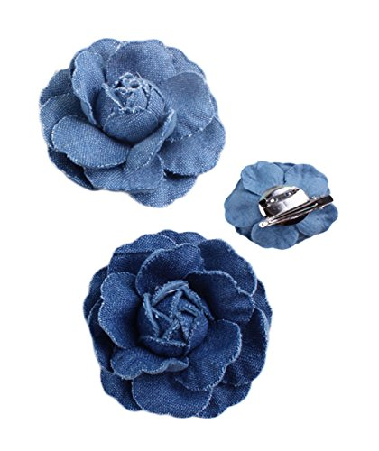 Woman Denim Brooch Flower Girls Blue Jeans Hair Clip Lady Hairgrips HairPin JW02 (2pc-Set)
