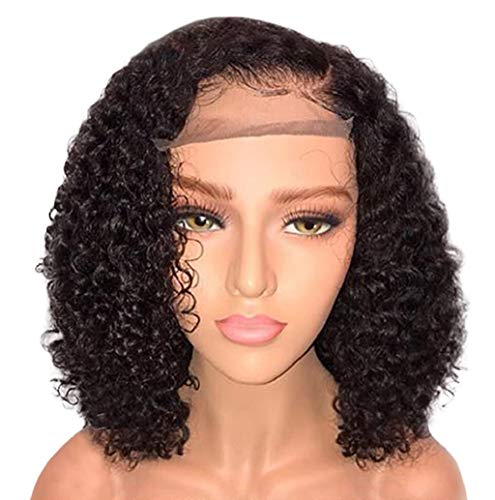 Front Full Wig, Women Deep Wave Lace Full Wig Short Curls Hair Natural Black Brazilian Style Look Real Cosplay Costume Party Wigs JHKUNO (Black)